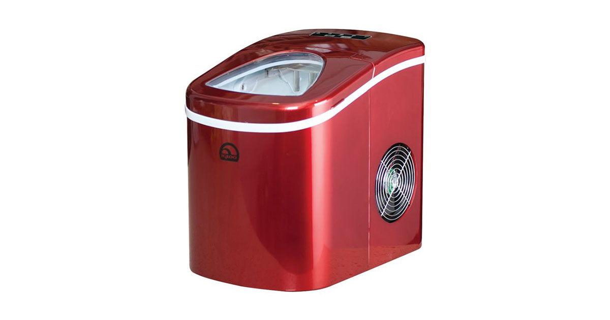 Igloo Counter Top Ice Maker Produces 26 pounds Ice per Day Stainless Steel with White See through Lid image
