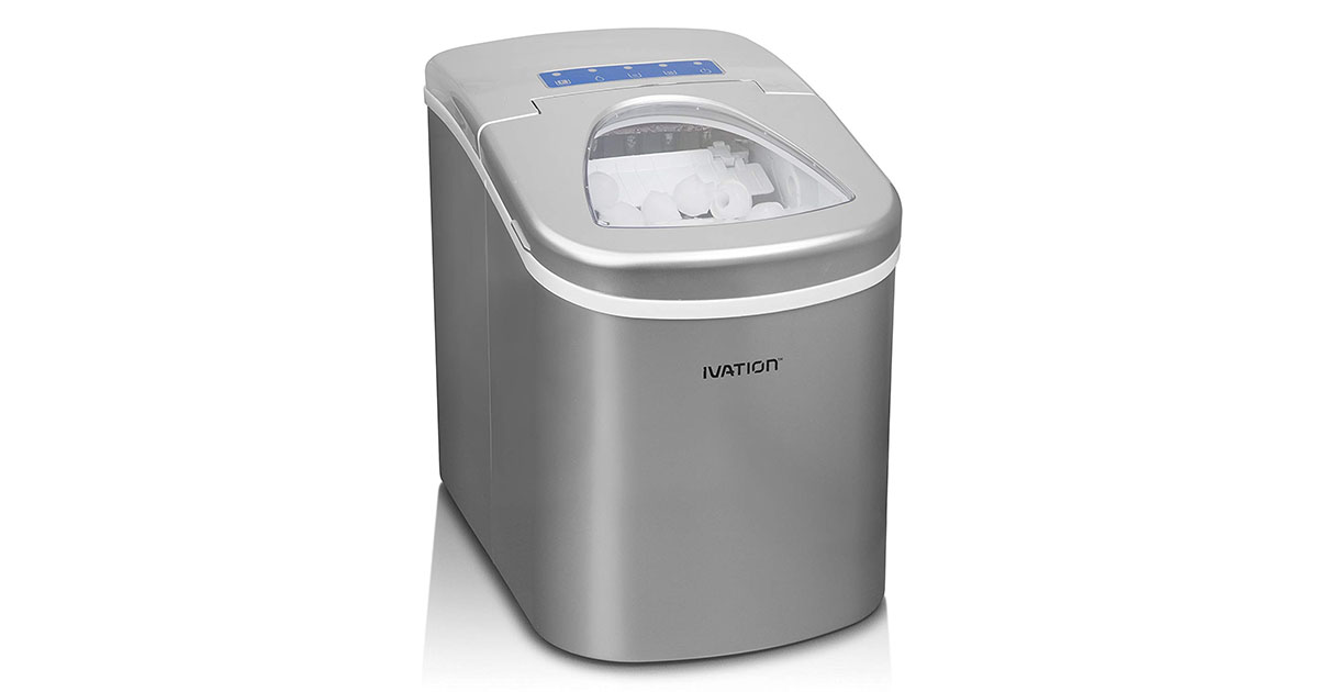 Ivation IVA-ICEM15SIL Portable Ice Maker with Easy Touch Buttons for Digital Operation image