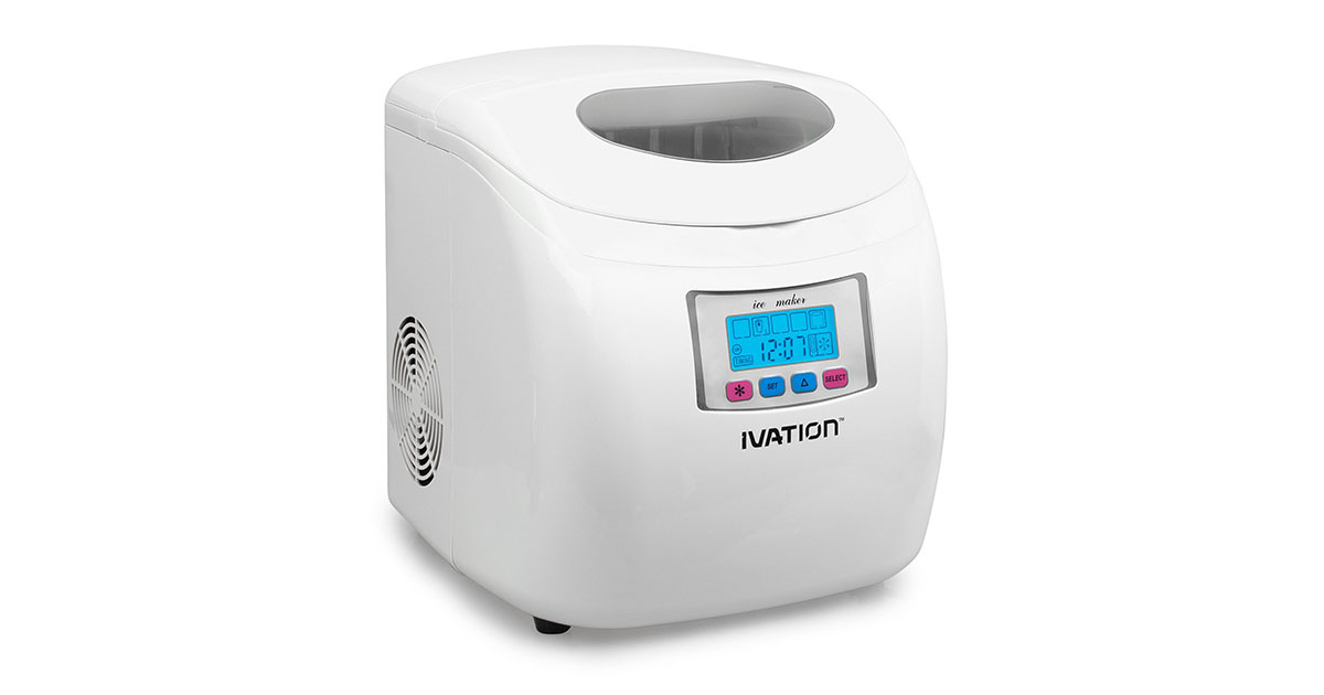 Ivation IVA-ICEM25WH Portable Ice Maker with LCD Display White image