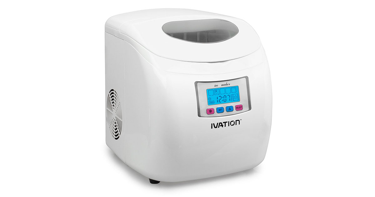 Ivation IVA-ICEM25WH Portable Ice Maker with LCD Display image