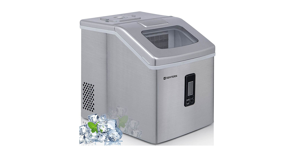 Sentern Portable Electric Clear Ice Maker Machine Stainless Steel Countertop ES186816 Ice Making Machine image