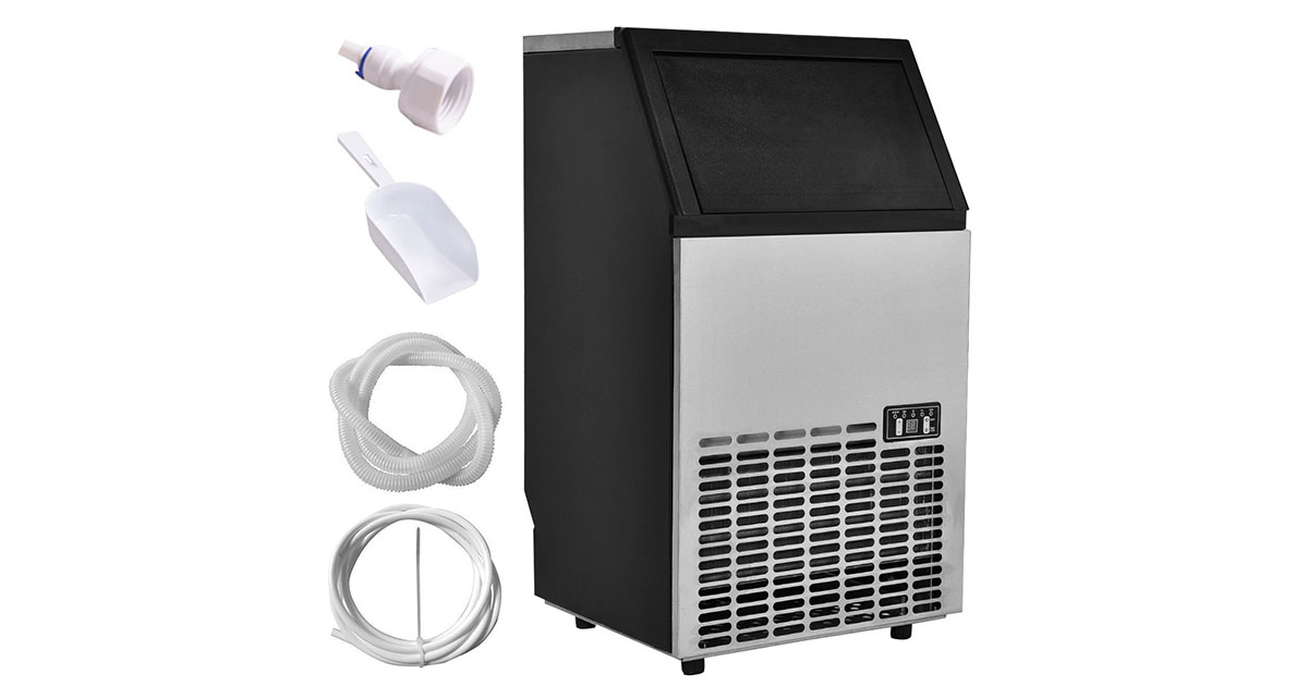 USzon Built-In Stainless Steel Commercial FWAM-00134 Ice Maker Portable image
